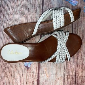 Cole Haan Nike Air White Braided Leather Sandal 7